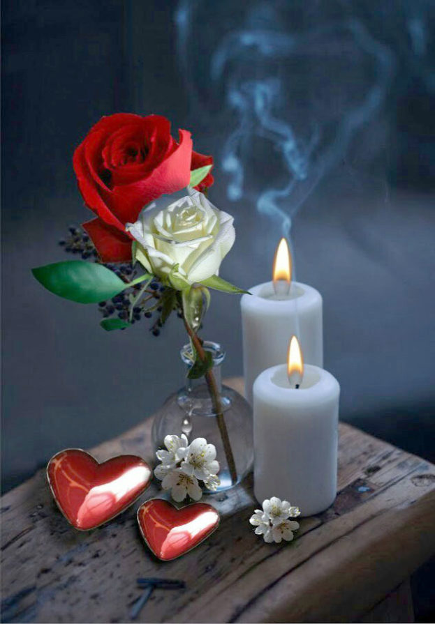 صور شموع قلوب ورود حب رومانسية-عالم الصور